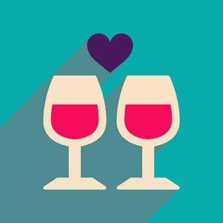 pareja comiendo: icono de banda plana con copas de vino larga sombra Vectores