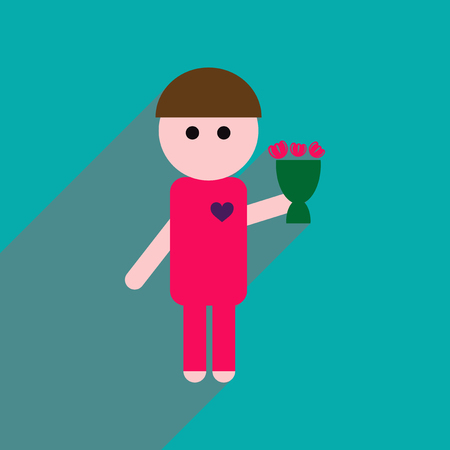 chap: Flat web icon with long shadow man bouquet