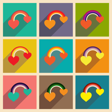 bisexuality: Set of flat web icons with long shadow rainbow heart