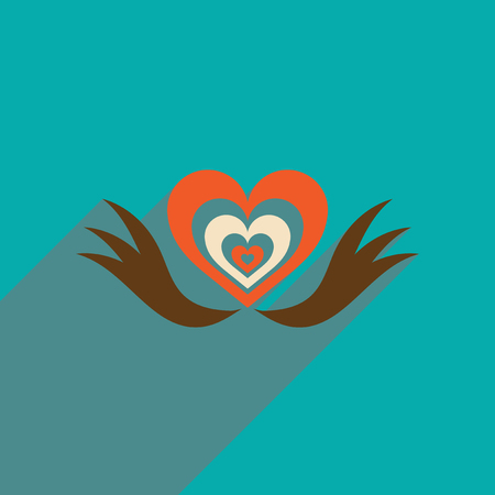 heart with wings: Flat web icon with long shadow heart wings