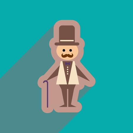 stylish man: Flat web icon with long shadow stylish man