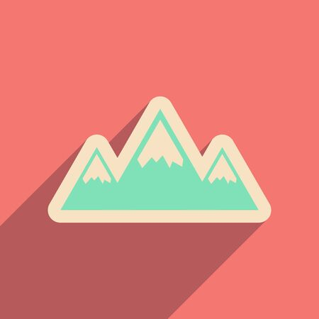 extreme terrain: Flat web icon with long shadow mountains Illustration