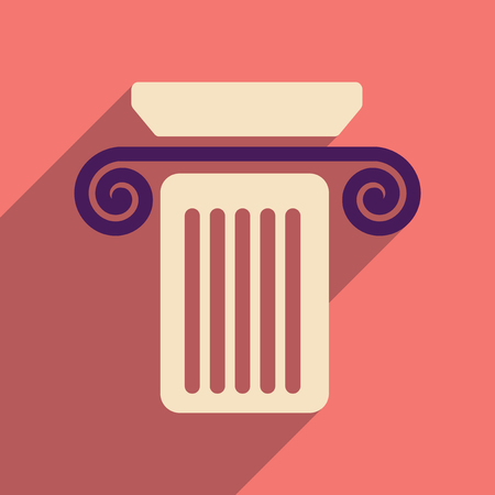 doric: Flat web icon with long shadow column Illustration
