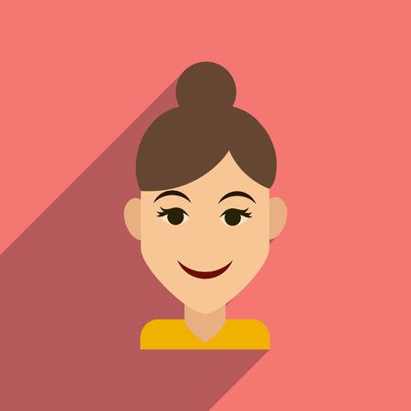make up model: Flat web icon with long shadow womens haircut