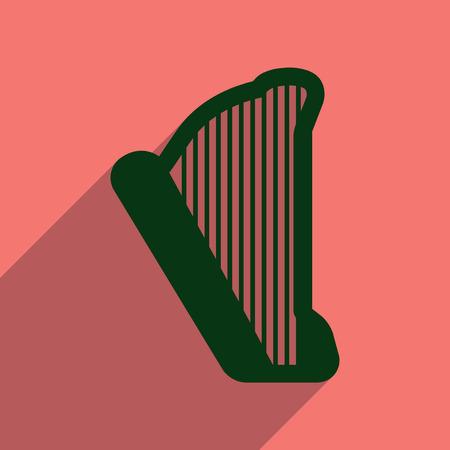 symphonic: Flat web icon with long shadow harp Illustration