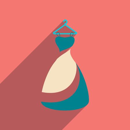 transparent dress: Flat web icon with long shadow Wedding Dress