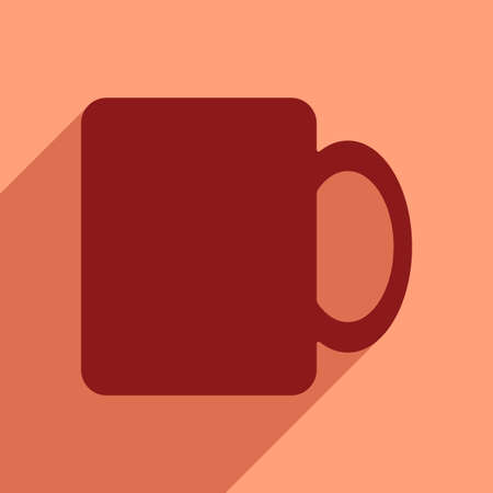 contemporary taste: Flat icon with long shadow coffee cup