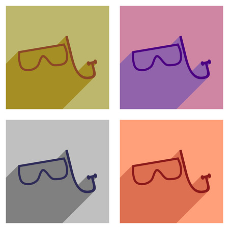 rubber tube: Set of flat icons with long shadow scuba mask