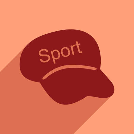 hat with visor: Flat icon with long shadow sports cap