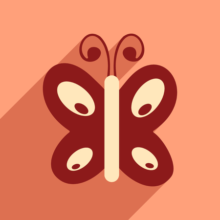 feeler: Flat icon with long shadow insect butterfly