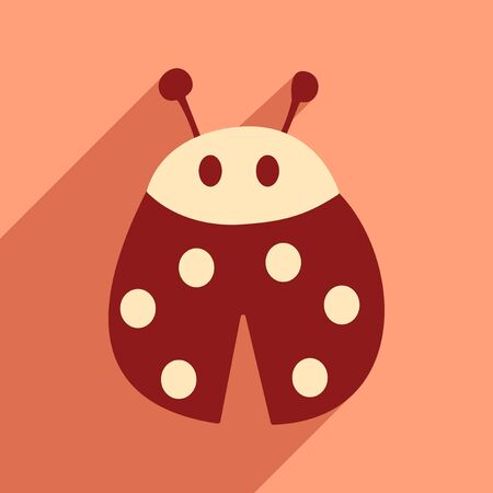 lady bug: Flat icon with long shadow lady bug