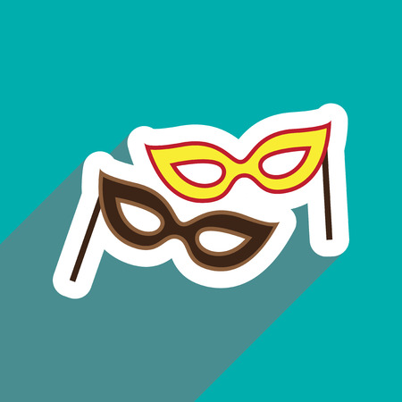 decoration decorative disguise: flat icon with long shadow carnival mask Illustration