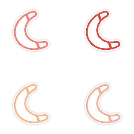 wooden boomerang: Set of stickers Australian boomerang on white background