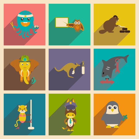 striptease: Set of flat icons with long shadow animals