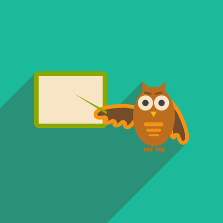 serious: flat icon with long shadow owl teacher