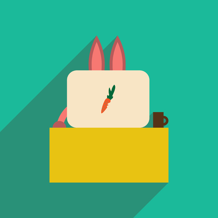 whisker characters: flat icon with long shadow rabbit cartoon