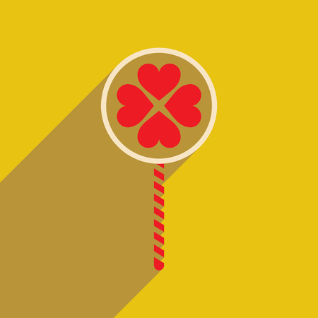 indulgence: Flat web icon with long shadow candy heart Illustration