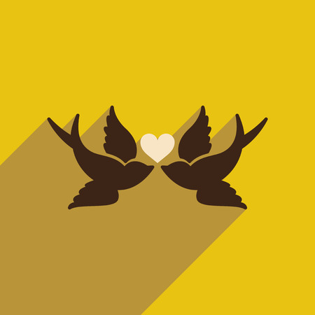 tenderness: Flat web icon with long shadow birds heart Illustration