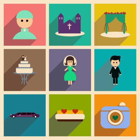 marriage bed: Set of flat web icons with long shadow wedding