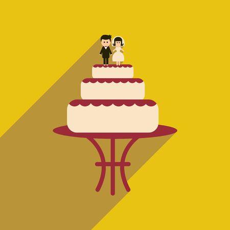 tier: Flat web icon with long shadow wedding cake