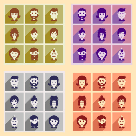 haircut: Set of flat web icons with long shadow haircut Illustration