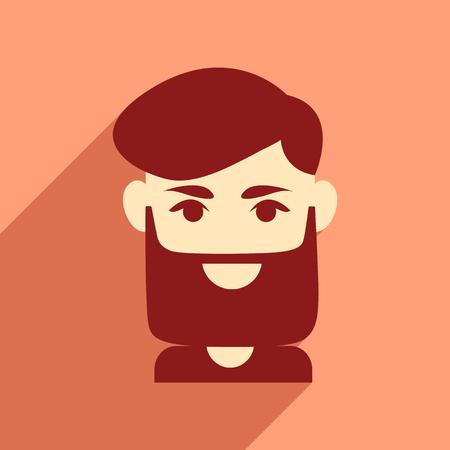 haircut: Flat web icon with long shadow mens haircut