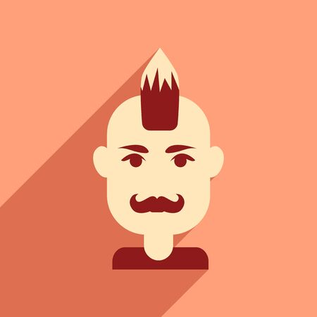 Flat web icon with long shadow men's haircut Illustration