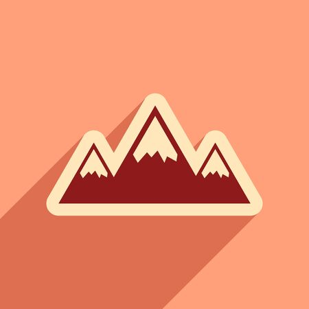 ridges: Flat web icon with long shadow mountains Illustration