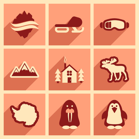 arctic: Set of flat web icons with long shadow Arctic Illustration
