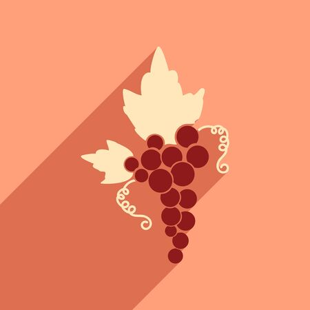 peasant household: Flat web icon with long shadow bunch of grapes