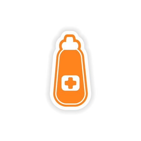 medicament: paper sticker on white background medicament in bottle Illustration