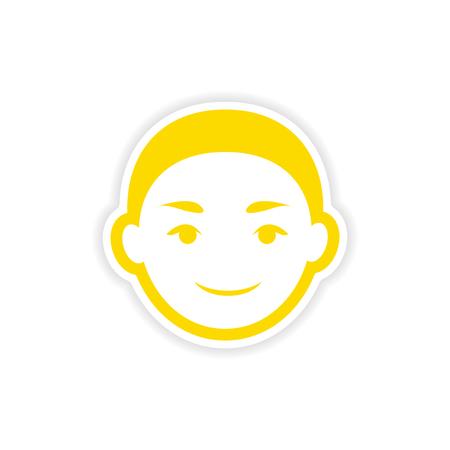 indian boy: paper sticker Indian boy on white background
