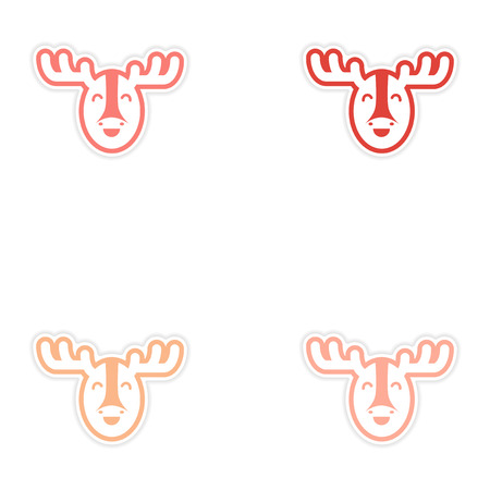 christmas plaid: Set of stickers Canadian moose on white background