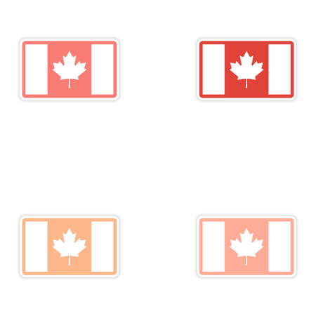 canadian flag: Set of stickers Canadian flag on white background
