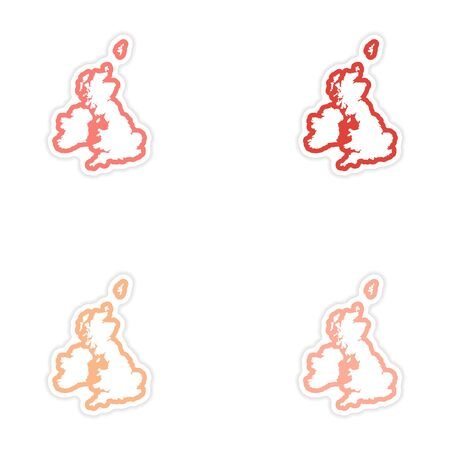 oxford: Set of stickers map Britain on white background