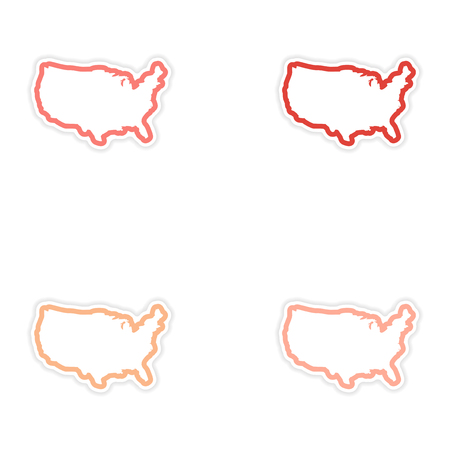 star spangled: Set of stickers map of USA on white background