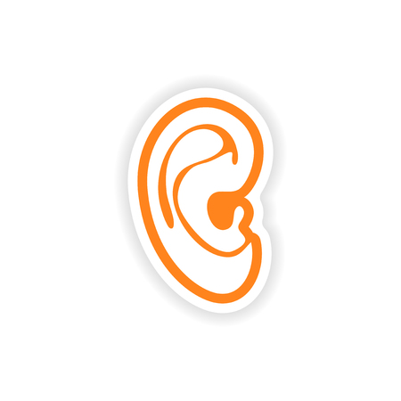 audible: paper sticker on white background human ear