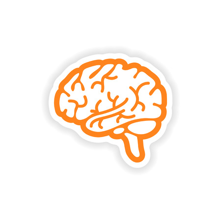 paper sticker on white background human brain Illustration