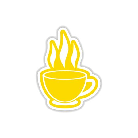 oolong: paper sticker Indian tea cup on white background