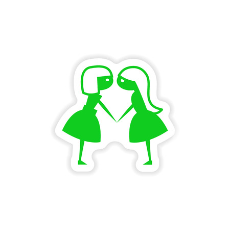 girlfriends: icon sticker realistic design on paper girlfriends