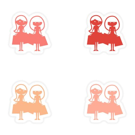 girlfriends: assembly realistic sticker design on paper girlfriends shopping Illustration
