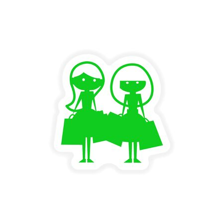 girlfriends: icon sticker realistic design on paper girlfriends shopping