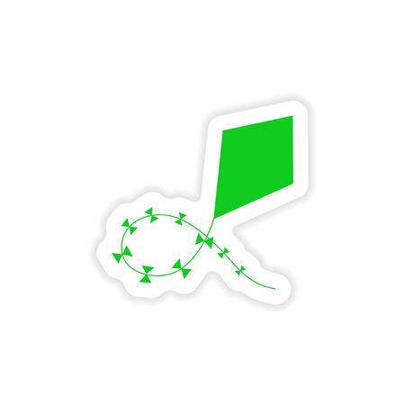 paper kite: icon sticker realistic design on paper air kite Illustration