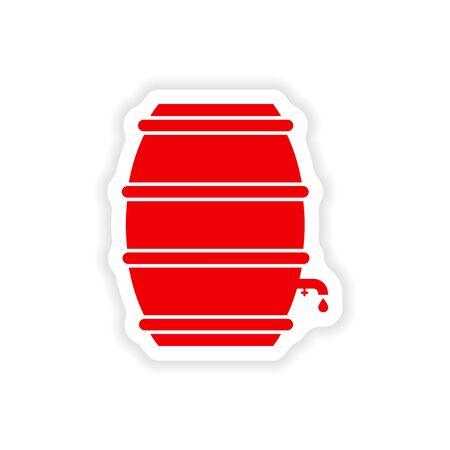 keg: stylish paper sticker on white background keg beer Illustration