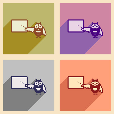 scholarly: Set of flat icons with long shadow owl teacher