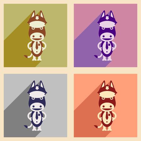 Set of flat icons with long shadow cartoon donkey