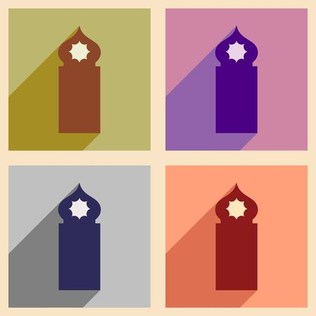 cupola: Concept flat icons with long shadow Arab tower
