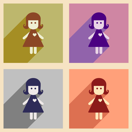 juvenile: Set of flat web icons with long shadow girl