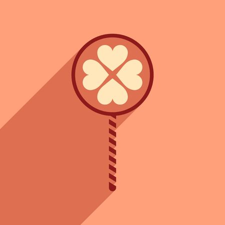 gelatin: Flat web icon with long shadow candy heart Illustration