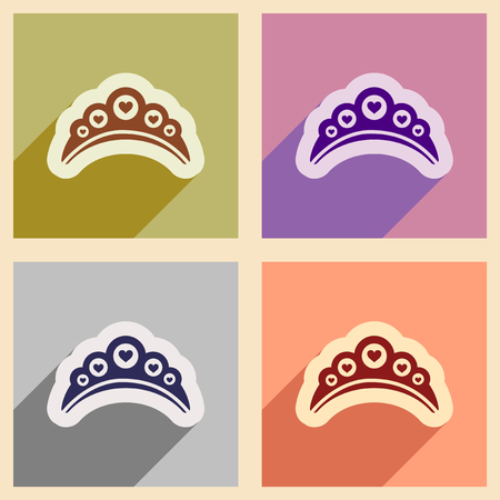 diadem: Set of flat web icons with long shadow diadem
